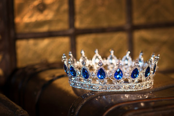 Royal luxury gold crown with sapphire