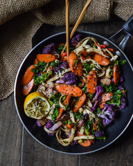 Overhead view of stir fry salad in a pan