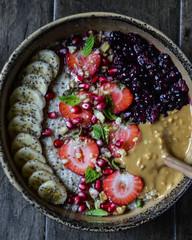 Close-up of fruit porridge served in a bowl