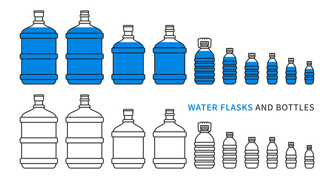 Water flasks and bottles vector illustration. Different plastic bottles and flasks for potable water delivery concept. Bottled drinking water for cooler graphic design.