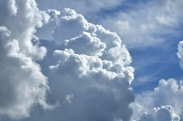 White clouds are floating in blue sky