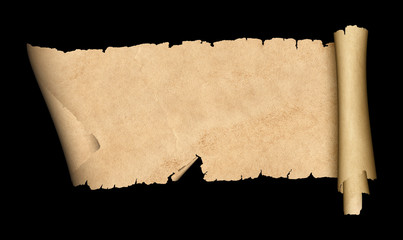Scroll of old paper on black background.