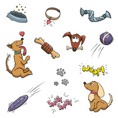 Funy domestic Dogs and puppies set. Vector collection or pattern