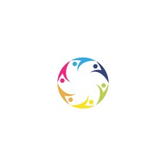 ABSTRACT COLORFUL TEAMWORK ICON LOGO