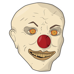 Head scary clown. Vector illustration. The bald man smiles yellow teeth.