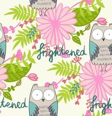 vector illustration of a cartoon owl. Fright