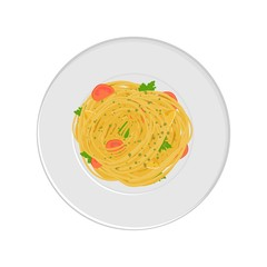 Vector illustration spaghetti pasta with tomatos