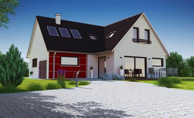 Maison contemporaine moderne avec chemin en pavé