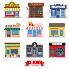 Shops and venues flat design store fronts