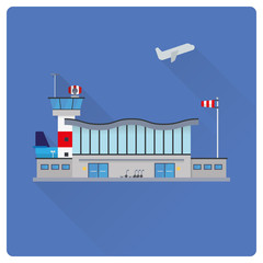Airport buildings flat design vector illustration