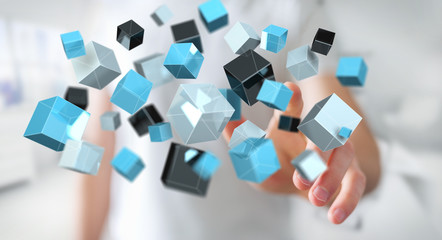 Businessman touching floating blue shiny cube network 3D rendering