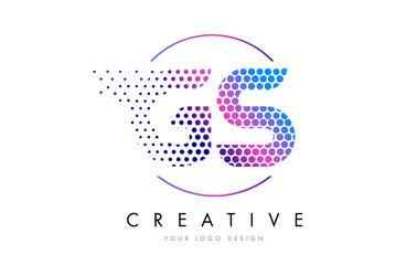 GS G S Pink Magenta Dotted Bubble Letter Logo Design Vector