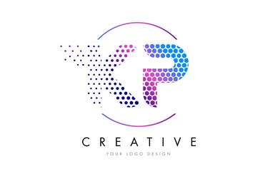KP K P Pink Magenta Dotted Bubble Letter Logo Design Vector