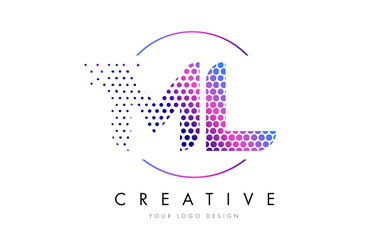 ML M L Pink Magenta Dotted Bubble Letter Logo Design Vector