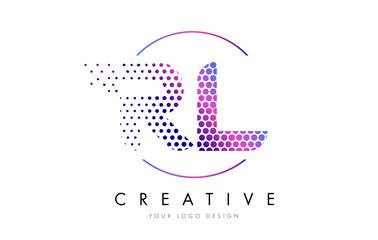 RL R L Pink Magenta Dotted Bubble Letter Logo Design Vector