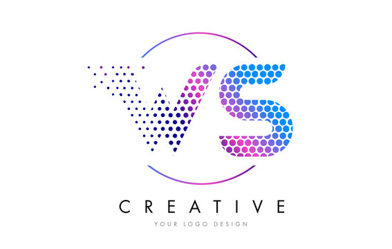 WS W S Pink Magenta Dotted Bubble Letter Logo Design Vector