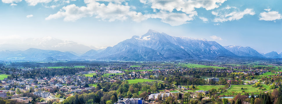 Province of Salzburg, Austria. Panoramic view over the Salzburg land from the Hohensalzburg castel. In the background, the Untersberg alpine mountain