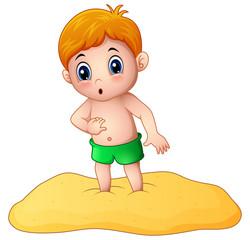 Cartoon little boy playing a sand