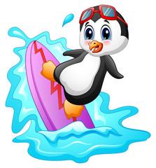 Cartoon penguin surfing on water