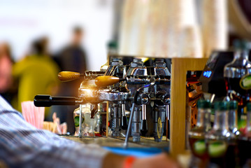 Coffee brewing machine. Shallow DOF
