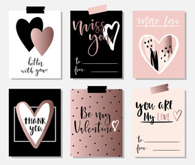 Love collection with 6 cards in rose gold and pastel colors. Perfect for Valentines day, stickers, birthday, save the date invitation.