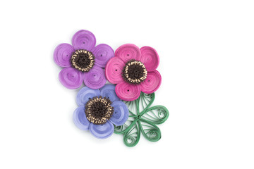 Colorful flower made in Quilling art