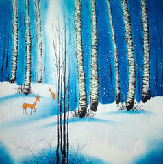 deer and forrest watercolor painting