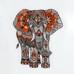 Sketch red elephant with beautiful patterns.
