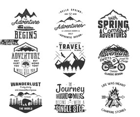Spring adventure and mountain explorer typography labels set. Outdoors activity inspirational insignias. Silhouette hipster style. Best for t shirts, mugs. Vector patches isolated on white background