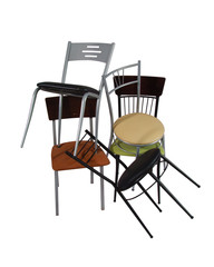 Pile of chairs isolated on white background with clipping mask.