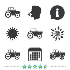 Tractor icons. Agricultural industry transport.
