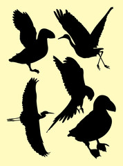 Limpkin birds, stork, heron, puffin, ostrich  silhouette. Good use for symbol, logo, mascot, web icon, sign, or any design you want.
