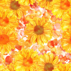 Seamless pattern with hand drawn watercolor sunflowers, golden t