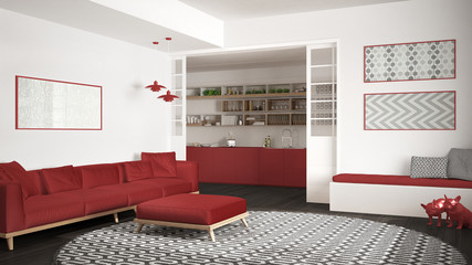 Minimalist living room with sofa, big round carpet and kitchen in the background, white and red modern interior design