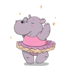 hand drawn cartoon hippo dancing ballet in a tutu isolated on white background. outline vector illustration. dancing animals.Children's illustration vector