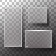 Set of glass square, rectangular and round buttons on checkered background icons. Vector illustration