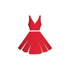 Beautiful short red dress vector illustration mock-up.