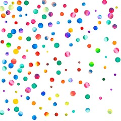 Sparse watercolor confetti on white background. Rainbow colored watercolor confetti abstract scatter. Colorful hand painted illustration.