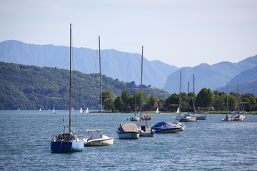 Boats on Lake Como in a Summer Day