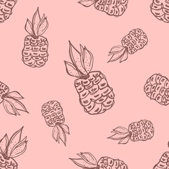 Seamless vector pattern. Hand drawn fruits illustration of pineapple on the Line drawing. Print for wallpaper, background, surface, fabric, decor