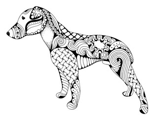 Zentangle stylized cartoon dog, isolated on white background. Hand drawn sketch for adult antistress coloring page, T-shirt emblem, logo or tattoo with doodle, zentangle design elements.
