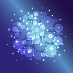 Vector blue background with glowing stars and flowers