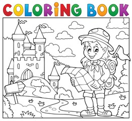 Coloring book scout girl theme 3