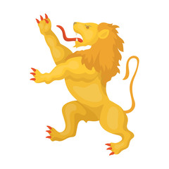 Golden lion symbol of belgium.The dark Belgian wolf. Belgium single icon in cartoon style vector symbol stock illustration.