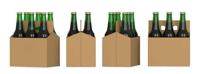 Four views of a six pack of green beer bottles in cardboard box. 3D render, isolated on white background