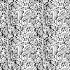 Tracery seamless wavy calming pattern. Mehndi design. Ethnic colorful doodle texture. Curved doodling background. Vector.
