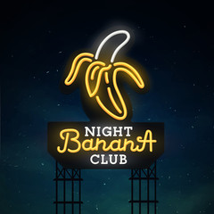 Night club road sing. City sign neon. Logo, emblem. Banana  neon sign, bright signboard, light banner.