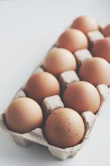Organic eggs in craft box