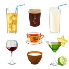 Soda with ice in glass, take away coffee, fresh ayran