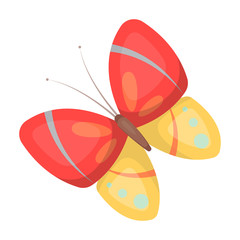 Spring butterfly. Easter single icon in cartoon style vector symbol stock illustration.